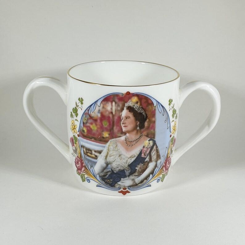 b1ec3e292152 Royal Memorabilia Queen Elizabeth the Queen Mother 80th Birthday  Commemorative 2 Handled Cup Crown Pottery Staffordshire