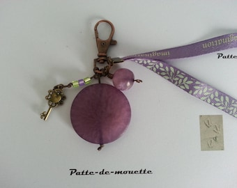 Key-large purple beads, double Ribbon and key charm