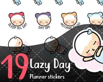 MojiMoi-kawaii LAZY DAY stickers for life planner,Erin Condren Stickers,Planner Stickers,kikki k stickers,plum stickers,filofax stickers
