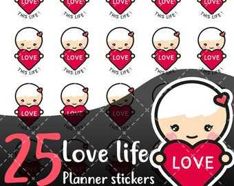 MojiMoi-kawaii HEART stickers for life planner,Erin Condren Stickers,Planner Stickers,kikki k stickers,plum stickers,filofax stickers