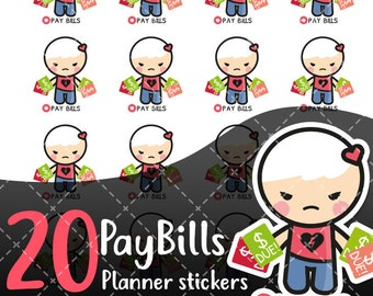 MojiMoi-kawaii PAY BILLS stickers for life planner,Erin Condren Stickers,Planner Stickers,kikki k stickers,plum stickers,filofax stickers