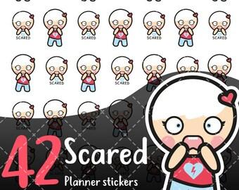 MojiMoi kawaii Scared stickers for life planner,Erin Condren Stickers,Planner Stickers,kikki k stickers,plum stickers,filofax stickers