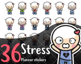 MojiMoi-kawaii STRESS stickers for life planner,Erin Condren Stickers,Planner Stickers,kikki k stickers,plum stickers,filofax stickers