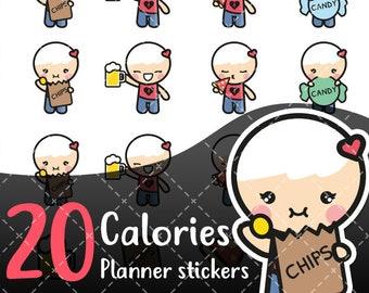 MojiMoi-kawaii CALORIES stickers for life planner,Erin Condren Stickers,Planner Stickers,kikki k stickers,plum stickers,filofax stickers