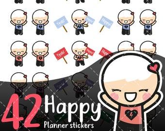 MojiMoi-kawaii HAPPY stickers for life planner,Erin Condren Stickers,Planner Stickers,kikki k stickers,plum stickers,filofax stickers