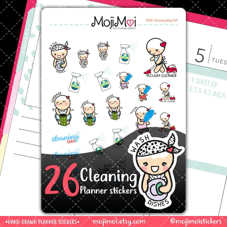 MojiMoi-kawaii Cleaning day stickers for life plannerErin image 0