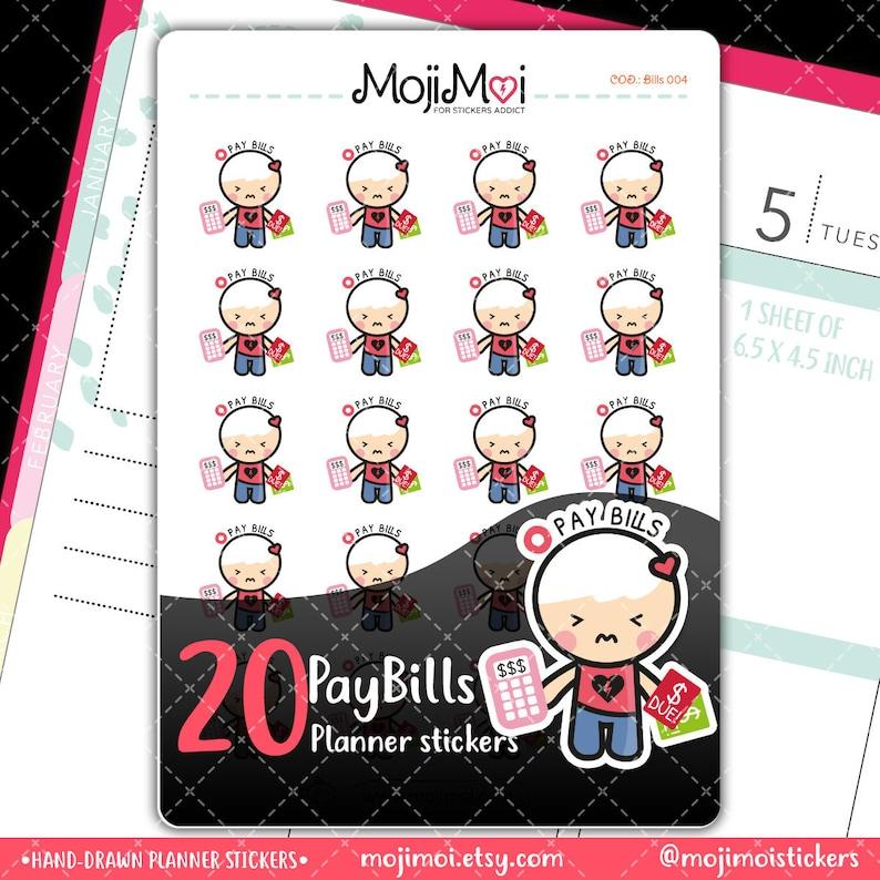 MojiMoi-kawaii PAY BILLS stickers for life plannerErin image 0