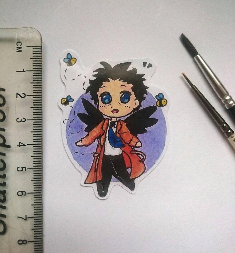 Kawaii chibi Castiel Sticker from watercolour art gloss sticker bees angel Supernatural cas handmade winchester