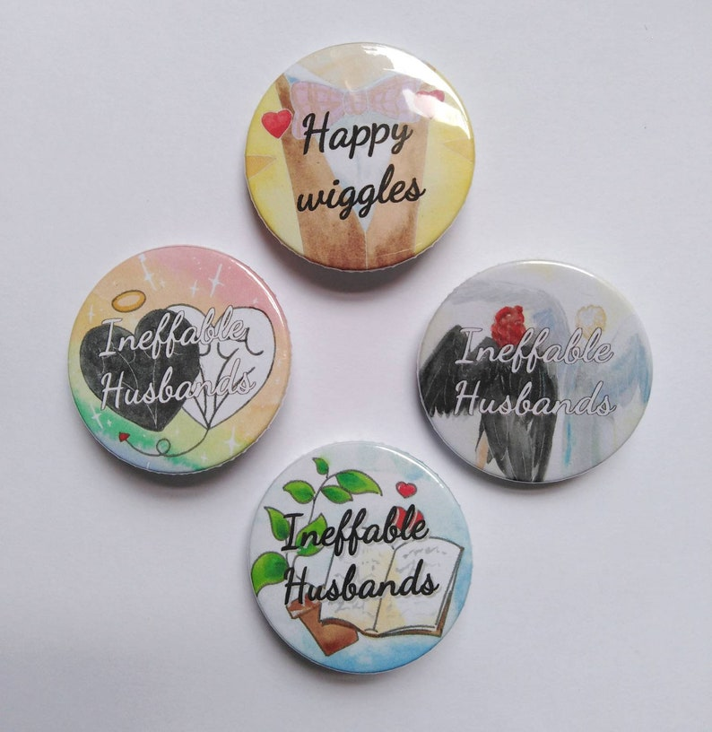 Ineffable husbands badges  Good omens, crowley, ariraphake, pins, buttons,  angel, books, plants, wings