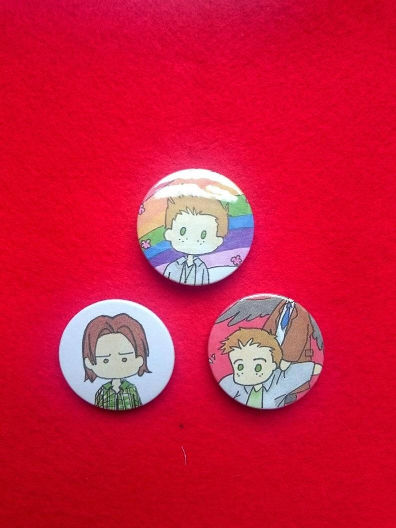 Chibi Supernatural Badges Dean Sam Winchesters Castiel Etsy