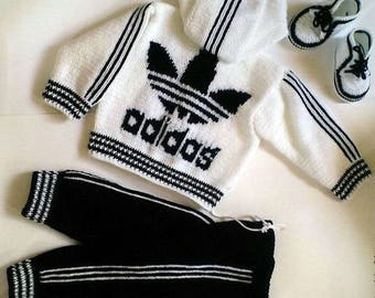 Knit baby Tracksuit Knitted Costume Track Pants Crochet Jacket Kids Sport Suit Knitted Activewear Toddler Sportswear Baby Outfit Clothing