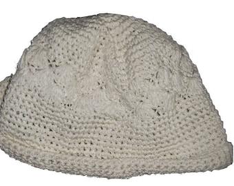 Chapeau Femme FilleVintage Blanc - Broderie Fleur Crochet - Mode Retro60    70 Sixties Seventies - Pret a pORTER Ou A Customiser 096aaa0c302