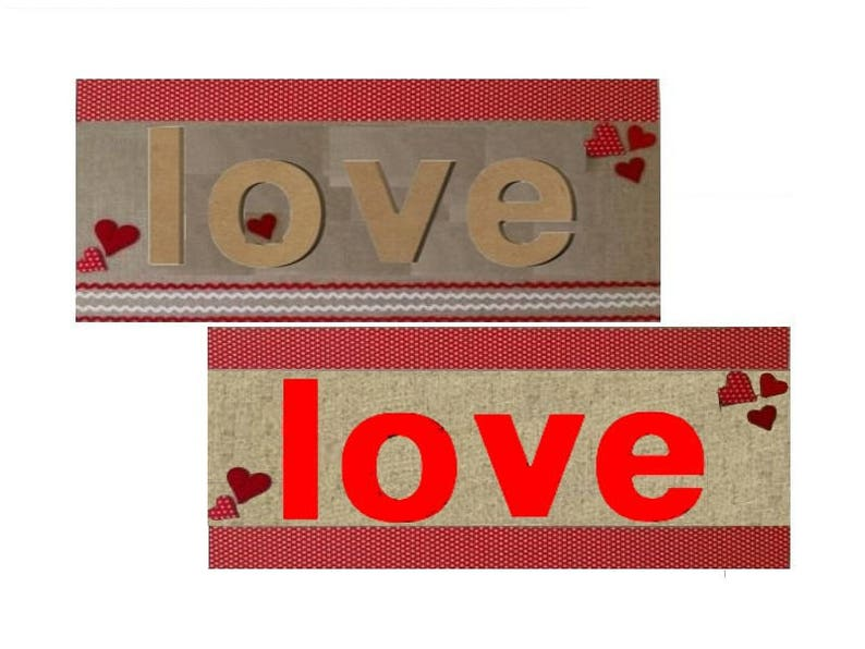 Lot 4 stand to decorate 3D shape letter wood raw 13 x 1 5 cm = LOVE