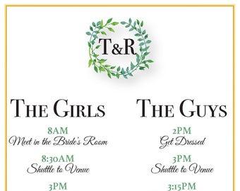 Greenery Bridal Party Itinerary