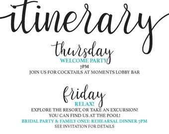 Calligraphy Style Wedding Weekend Itinerary *DIGITAL*