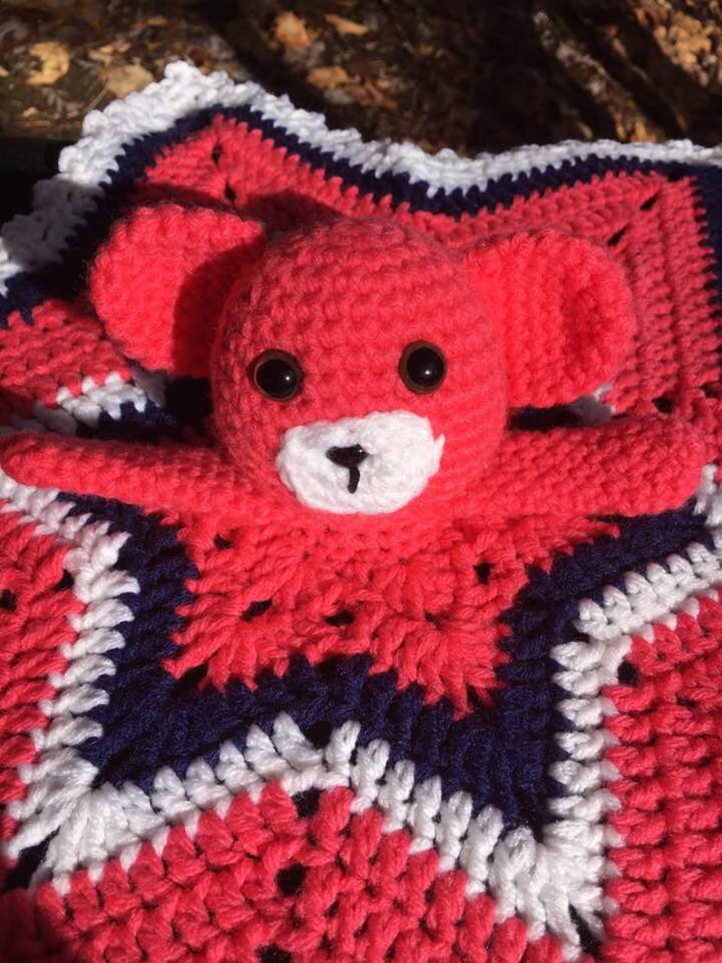 Crochet Bear Blanket Lovey Blanket Lovey Crochet Security Blanket Bear Lovey Bear Security Blanket baby shower Baby Gift