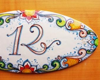Targhe e targhette in ceramica personalizzate dipinte a mano per