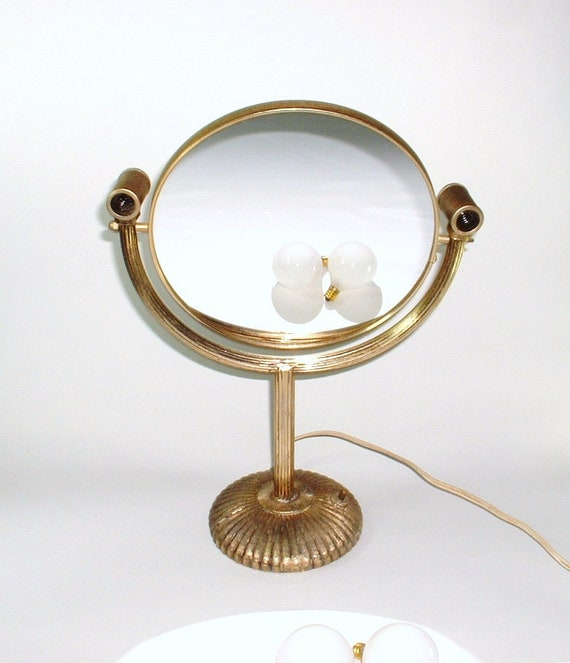 Vintage Makeup Mirror With Lights On Standswivel Magnifying Etsy