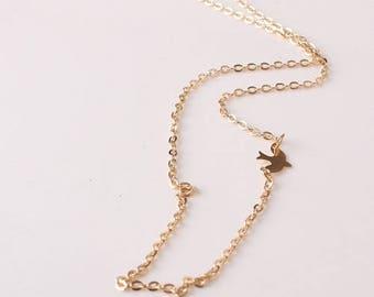 Gold Chain Bird Necklace