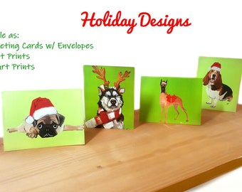 Set Of 8 Dog Christmas Cards Holiday Cards For Dog Lovers Etsy