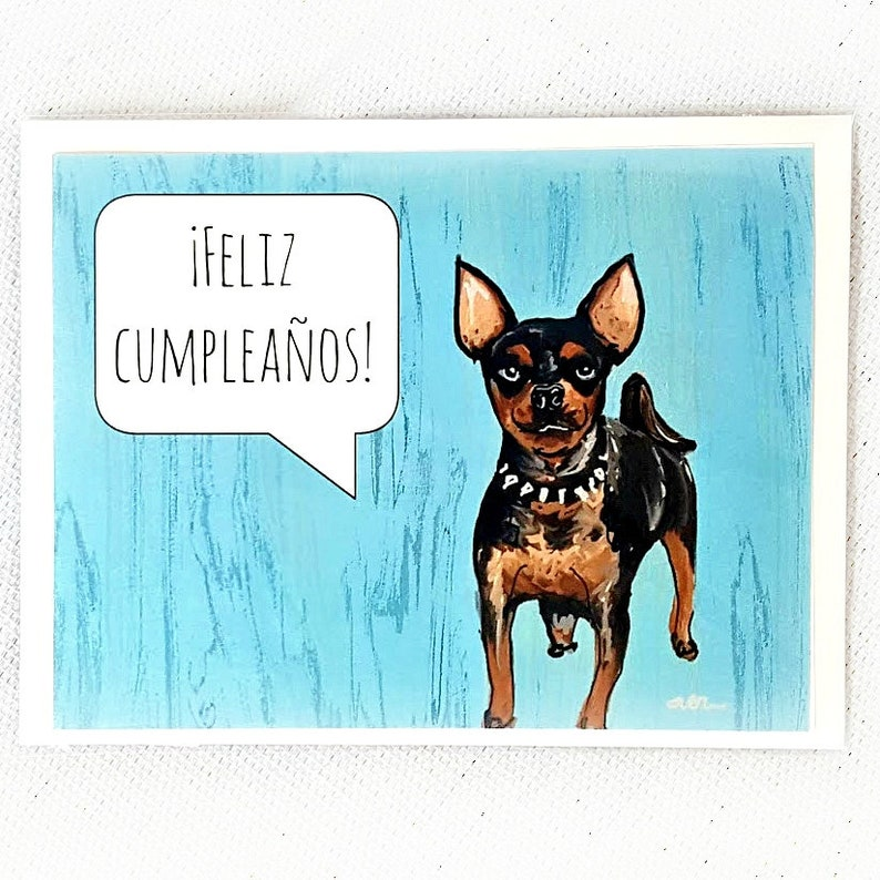 Dog Birthday Card Feliz Cumpleanos Chihuahua Greeting