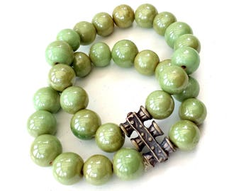 Green Aventurine Crystals with silver details, stretch bracelet