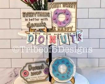 Donut Tiered Tray svg | Donut Signs svg | Donut svg | Sweets Tiered Tray svg | Donut Tier Tray svg | Glowforge File Svg | Laser File svg |
