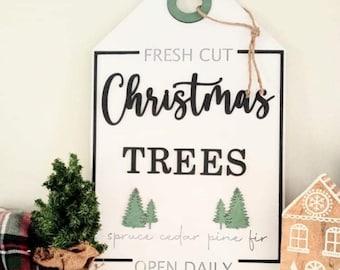 Large Christmas Mantel Tag svg | Fresh Farm Christmas Trees Sign svg | Large Mantel Signs svg | Christmas Door Hang Signs svg |