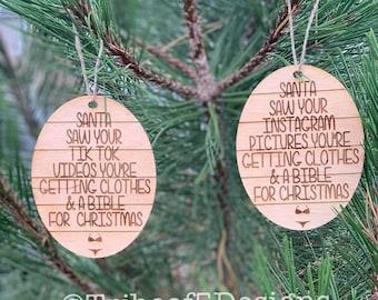 Christmas Wood Ornaments | Funny Christmas Ornaments | Glowforge Wood Ornaments | Christmas Ornaments svg Files | Santa Saw Your svg |