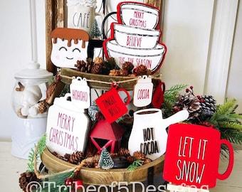 Rae Dunn Tiered Tray svg | Rae Dunn Christmas Tiered Tray svg | Rae Dunn Tier Tray svg | Christmas Rae Dunn Tier Tray svg | Laser Files svg