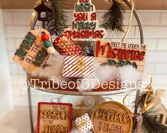 Christmas Tiered Tray svg | Christmas Tier Tray svg | Classic Christmas Tiered Tray svg | Christmas Tray Decor svg | Holiday Tiered Tray |