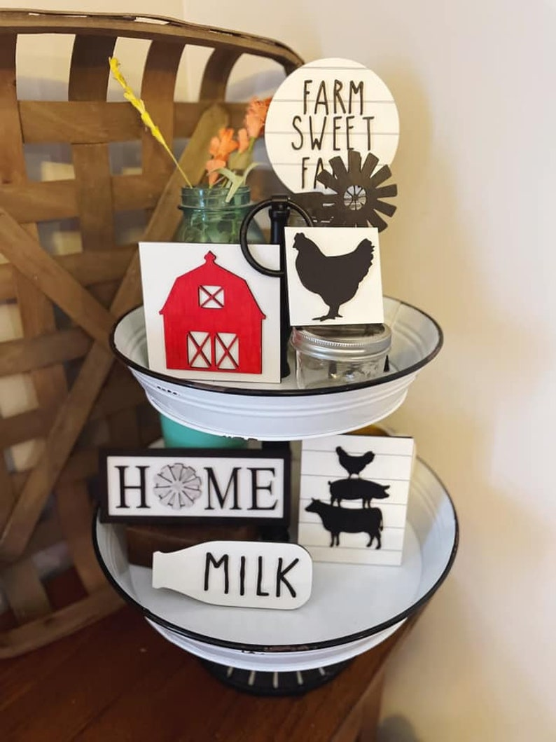 Tiered Tray  Tier Tray Signs  Tiered Tray Decor  Farmhouse image 0