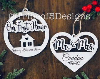 Christmas Personalized Ornaments svg | Our First Home Ornament svg | Last Name Ornament svg | Personalized Wooden Ornaments svg |