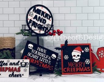 Creepmas Tiered Tray svg | Christmas Tiered Tray svg | Halloween Tiered Tray svg | Tiered Tray Decor | Tier Tray svg | Holiday Tiered Tray