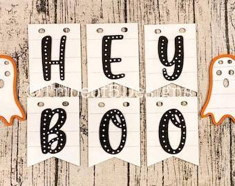 Hey Boo Banner svg   Halloween Boo Banner svg   Hey Boo Svg   Shiplap Banner svg   Halloween Banners svg   Halloween Signs svg   Ghost svg  