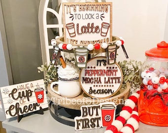 Christmas Coffee Tiered Tray svg | Peppermint Mocha Tiered Tray | Christmas Tiered Tray svg | Kitchen Tiered Tray svg | Coffee Signs svg |