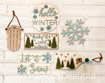 Christmas Tiered Tray svg | Baby It's Cold Outside Tiered Tray svg | Let It Snow Tiered Tray svg | Christmas Tier Tray Signs svg | Tier Tray