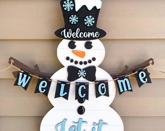Snowman Door Hang Sign svg | Snowman Sign svg | Welcome Snowman Sign svg | Winter Door Signs svg | Christmas Door Signs svg | Door Hangs svg