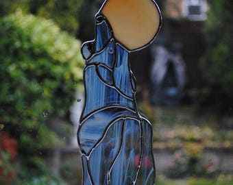 Hand made stained glass suncatcher - Wolf