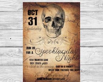Halloween Skeleton Party Invitation, Skull Scroll