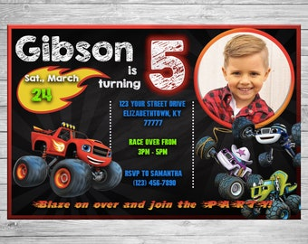 Blaze Monster Machines Party Invitation Customizable Photo Characters