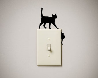 Cat chasing mouse mice cute funny Vinyl Decal Sticker light switch cover outlet wall art gift present home house decor decoration