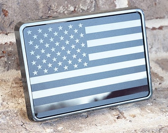 Reflective US USA flag Trailer Hitch Cover tube Plug Insert Fits 2 Receivers, Black /& White flag with Thin blue line