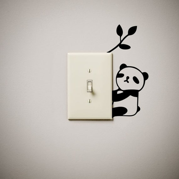 Panda Bear Cute Funny Vinyl Decal Sticker Light Switch Cover Etsy - Vinyl-decals-to-decorate-light-switches-and-outlets