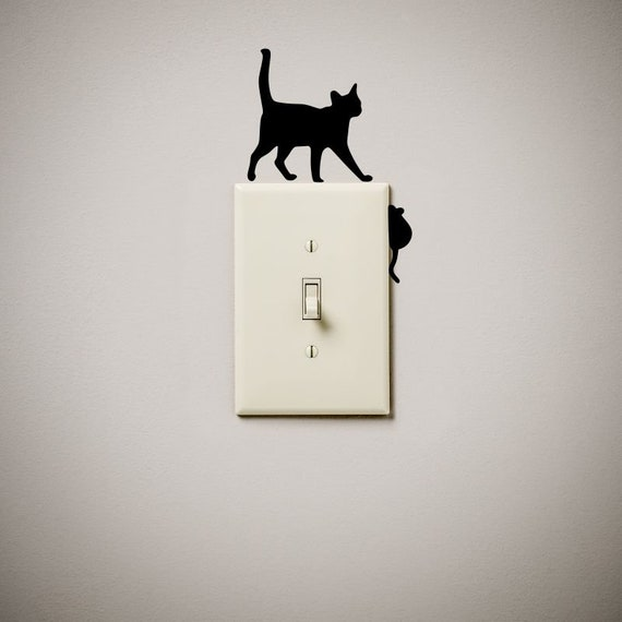 Cat Chasing Mouse Mice Cute Funny Vinyl Decal Sticker Light Etsy - Vinyl-decals-to-decorate-light-switches-and-outlets