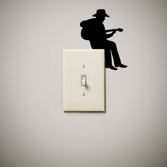 Cowboy Guitar Musician Cute Funny Vinyl Decal Sticker Light Etsy - Vinyl-decals-to-decorate-light-switches-and-outlets