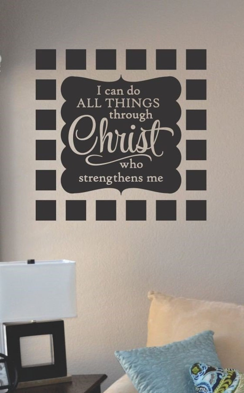 I can do all things through vinyl wall art decal sticker home house decor decoration lettering quote inspirational uplifting motivational