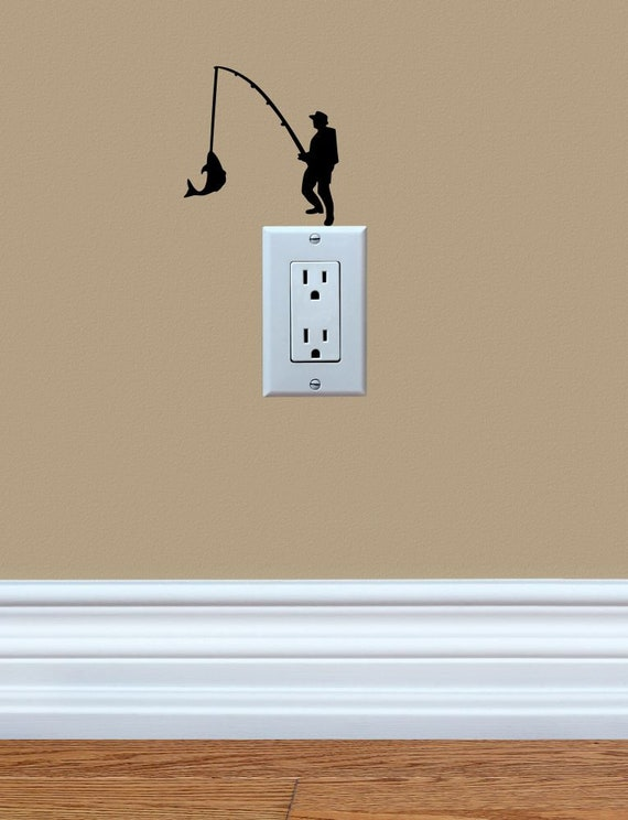Guy Fishing Cute Funny Vinyl Decal Sticker Light Switch Cover Etsy - Vinyl-decals-to-decorate-light-switches-and-outlets