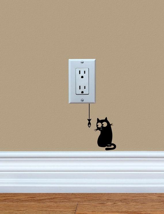 Peeking Kitty Vinyl Decal Sticker Light Switch Kids Cat Nursery Home Decor
