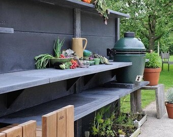 Concrete Outdoor Kitchen Dark Anthracite Big Green Egg Modern Outdoor  Cooking BGE Table
